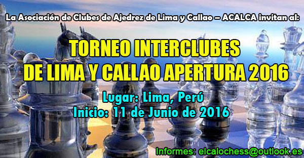 TORNEO INTERCLUBES DE LIMA Y CALLAO APERTURA 2016
