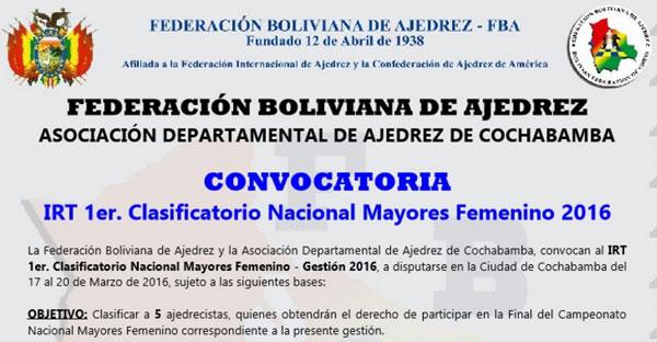 Bolivia.- IRT 1er. Clasificatorio Nacional Mayores Femenino 2016