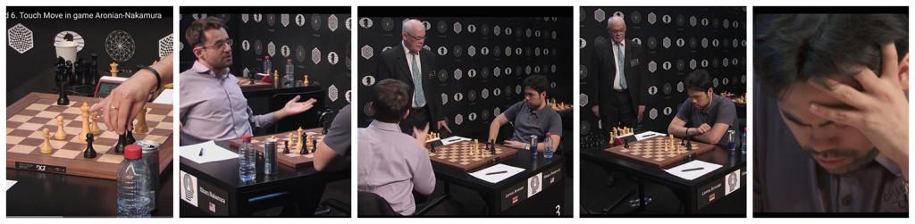 Nakamura toca su rey. Luego retira la mano y Aronian le dice con gestos ostensibles que tiene que moverlo, llama al árbitro y le explica la situación. El armenio se va y el árbitro vigila que Nakamura haga lo correcto. En el último fotograma, el americano se quiere morir; sabe que está perdido después de su error. Fotos: World Chess /Youtube