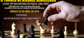 Lima, Per.- II Torneo de Ajedrez Semilleros, 30 abr 2016