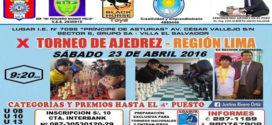 X Torneo de Ajedrez Región Lima sábado 23 de abril 2016
