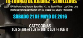 Lima, Per.- III Torneo de Ajedrez Semilleros, 21 may 2016
