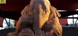 Impresionante elefante de arena jugando al ajedrez con un ratón