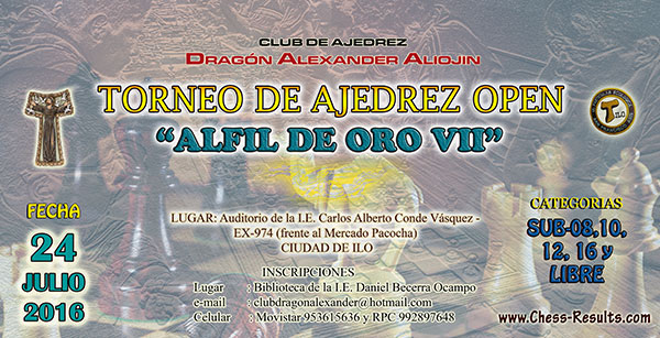 Ilo, Per.- Torneo de Ajedrez Open Alfil de Oro VII, 24 jul 2016