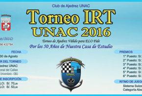 Callao, Per.- Torneo IRT UNAC 50 Años, 27 al 30 ago 2016