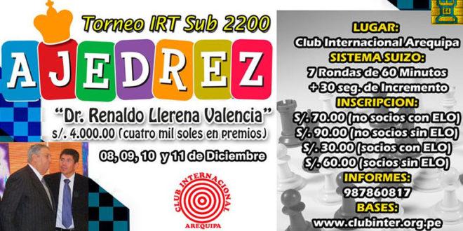 "Arequipa, Per.- IRT ""DR. RENALDO LLERENA VALENCIA"" SUB 2200, 8 al 11 dic 2016"