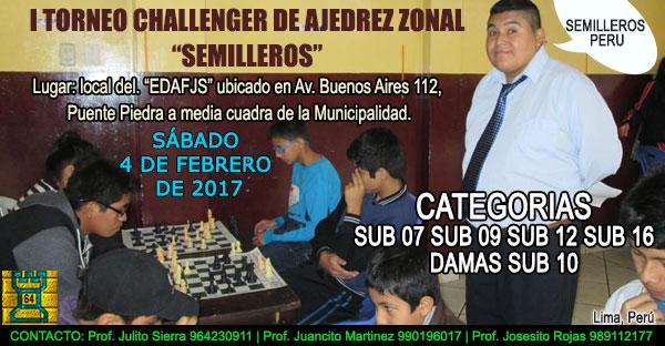 "Lima, Per.- I TORNEO CHALLENGER DE AJEDREZ ZONAL ""SEMILLEROS"", 4 feb 2017"