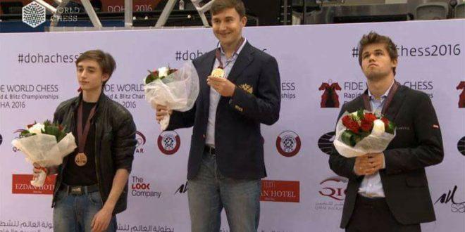 Victoria de Karjakin en Mundial Blitz + Video Rabieta de Carlsen durante la clausura!