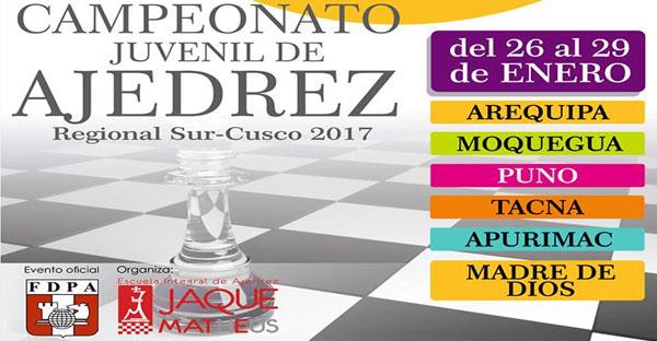 CAMPEONATO DE AJEDREZ JUVENIL REGIONAL SUR CUSCO, 26 al 29 ene 2017
