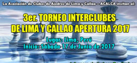 Lima, Per.- 3er. TORNEO INTERCLUBES DE LIMA Y CALLAO APERTURA 2017