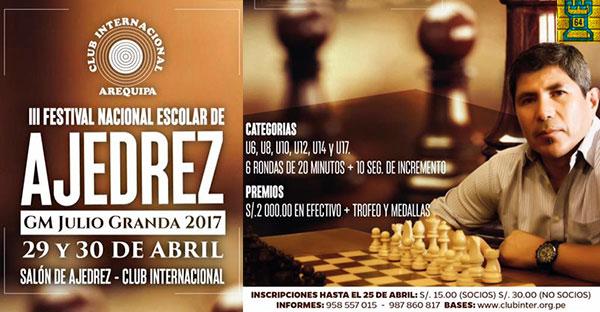 Arequipa, Per.- III Festival Nacional Escolar de Ajedrez, 29 y 30 abr 2017
