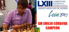 GM Emilio Córdova (Perú) gana Abierto Mexicano 2017