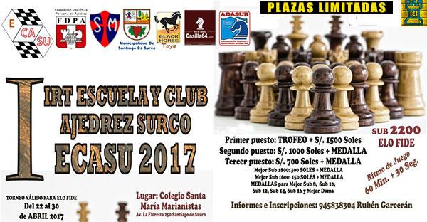 Lima, Per.- I IRT ESCUELA Y CLUB AJEDREZ SURCO-ECASU 2017, 22 al 30 abr