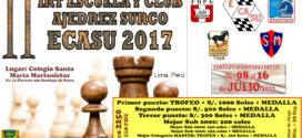 Lima, Per.- II IRT ESCUELA Y CLUB AJEDREZ SURCO-ECASU 2017, 8 al 16 jul 2017
