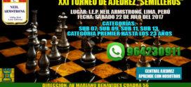 """Lima, Per.- XXI TORNEO DE AJEDREZ """"SEMILLEROS"""", 22 Jul 2017"""