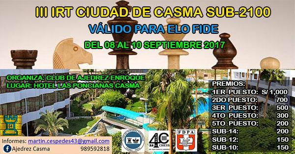 Casma, Per.- III IRT Ciudad de Casma Sub-2100, 8 al 10 sep 2017