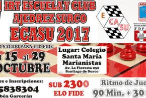 Lima, Per.- IV IRT ESCUELA Y CLUB AJEDREZ SURCO-ECASU 2017, 15 al 29 oct