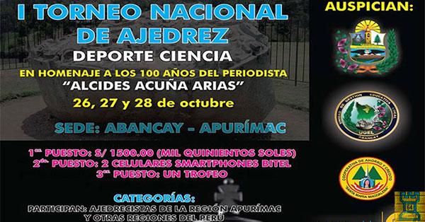 Abancay, Peru.- 1er. TORNEO NACIONAL DE AJEDREZ CATEGORIA LIBRE, 26 al 28 oct 2017