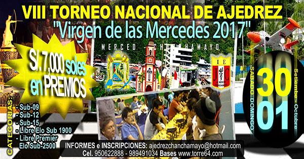 "La Merced, Per.- VIII Torneo Nacional de Ajedrez ""Virgen de Las Mercedes"", 30 sep y 1 oct 2017"