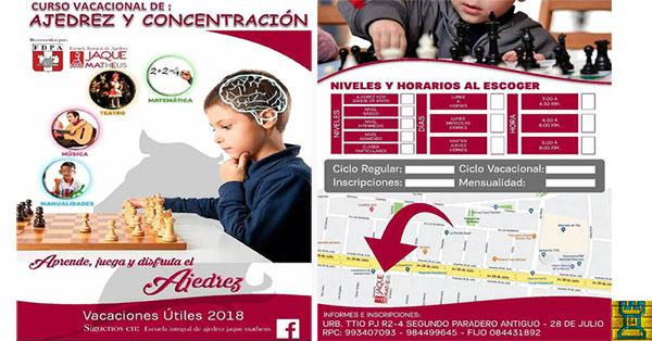 "Cusco, Per.- EL CLUB DE AJEDREZ ""JAQUE MATHEUS"" PRESENTA: EL CURSO DE AJEDREZ EDUCATIVO 2018"