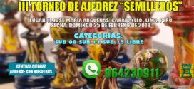 "Lima, Per.- III TORNEO DE AJEDREZ ""SEMILLEROS"", 25 feb 2018"